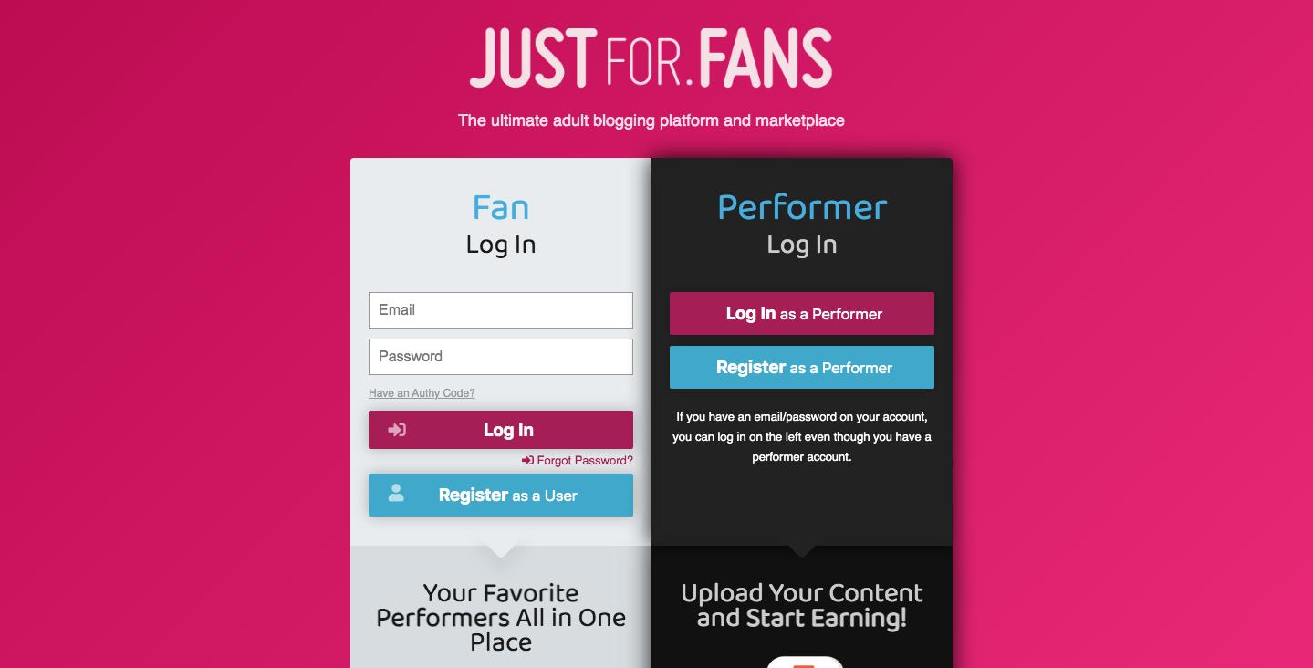 JustForFans login